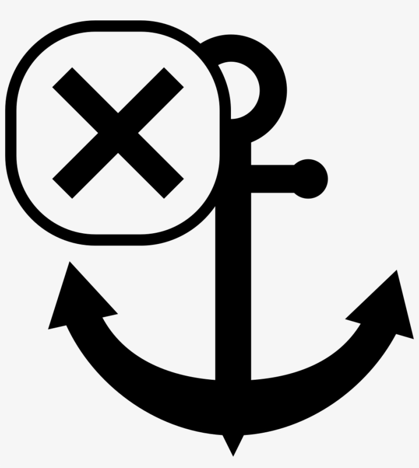 Anchor Symbol With Cross Mark Comments - Sailor Vector PNG