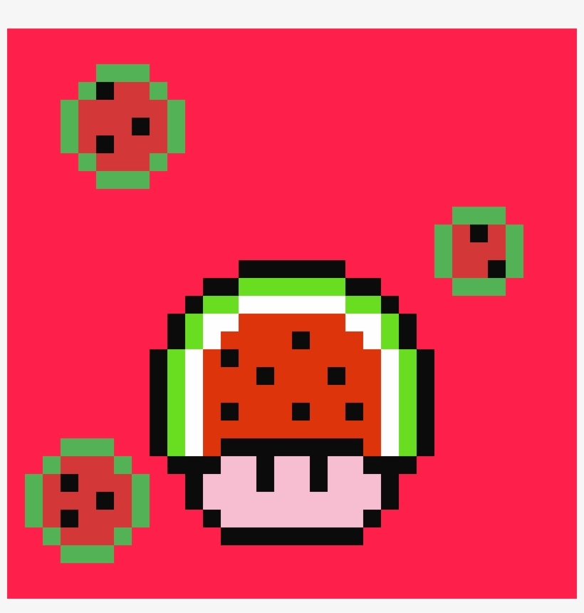 Sandia Kawaii Pixel Art Minecraft Game Boy Png Image