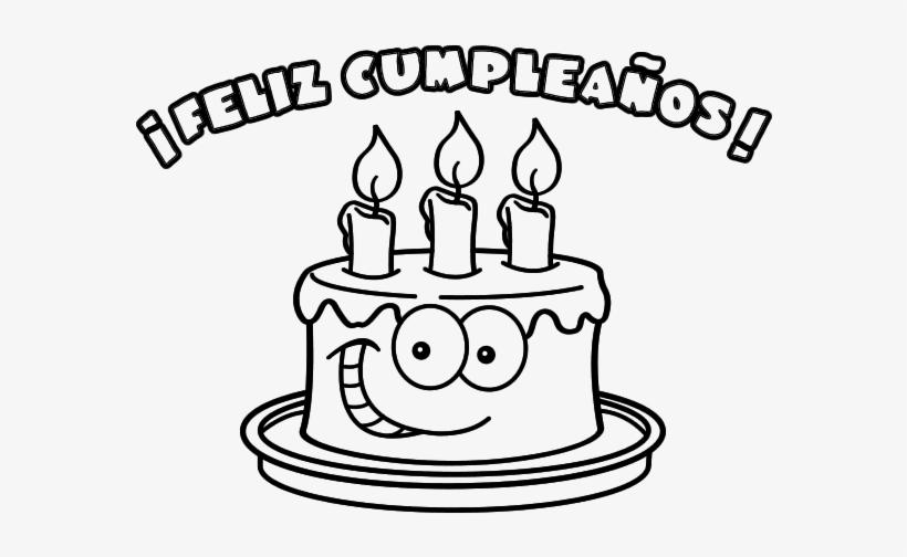 Imagen Para Pintar Con Dibujo De Torta Y Mensaje De - Feliz ...