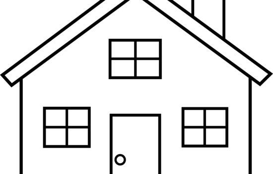 Black And White House Clipart Simple Easy House Drawing