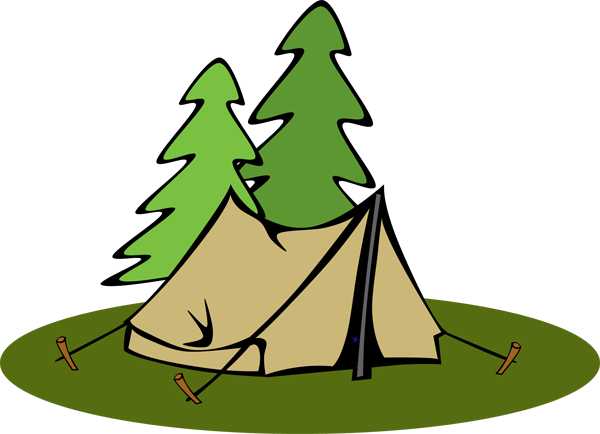 Pine Tree Clipart Transparent Background - Camping Tent Clipart (600x434), Png Download