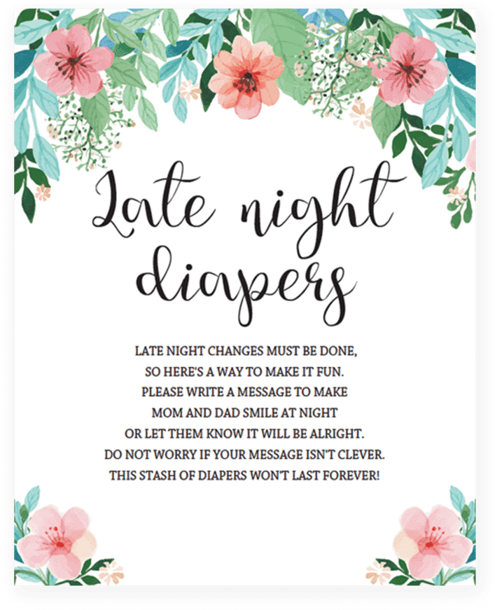 graphic regarding Late Night Diapers Printable named Late Evening Diapers Printable Indication With Red Bouquets - Mother