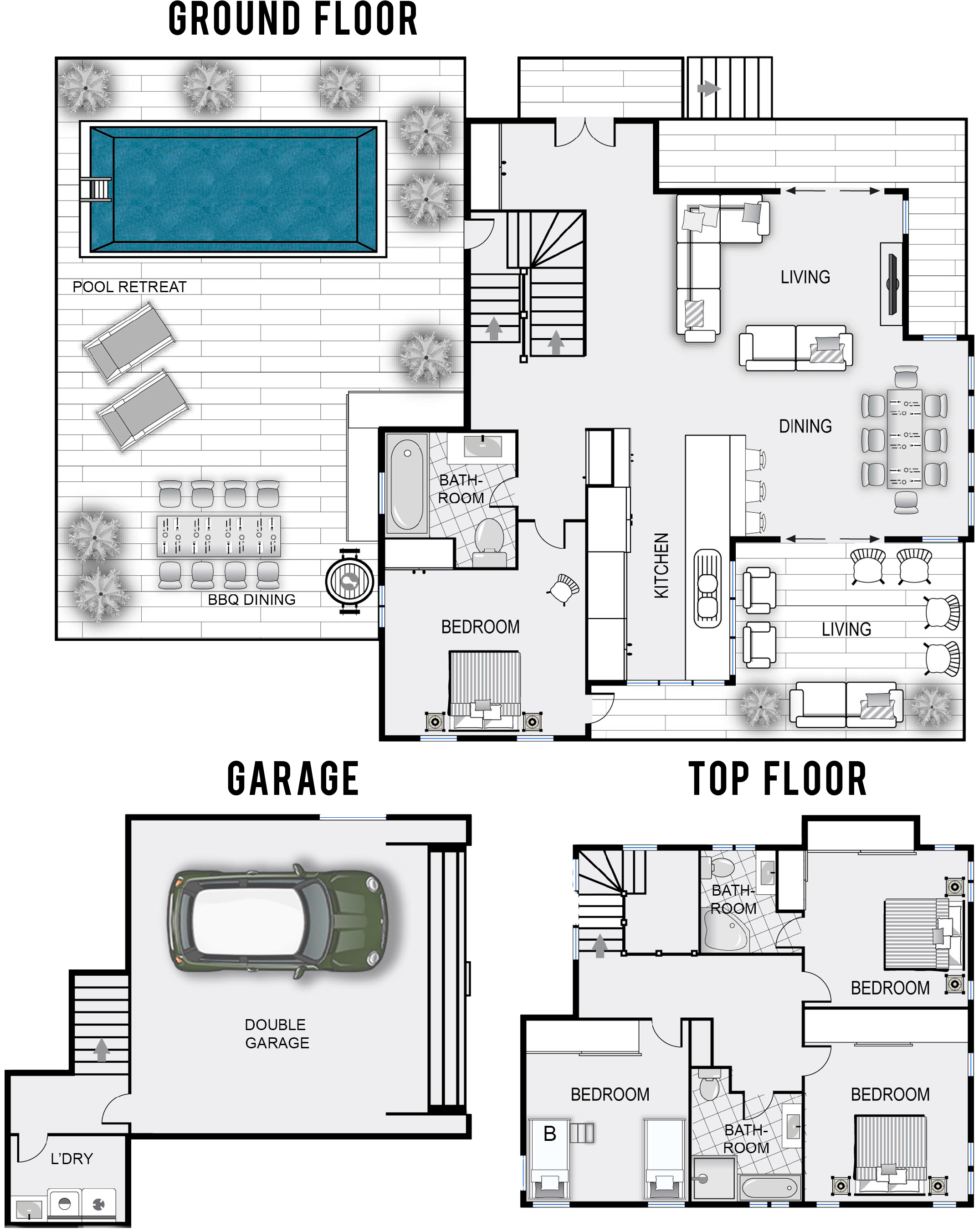Byron Beach House Accommodation Rates Floor Plan Full Size Png Download Seekpng