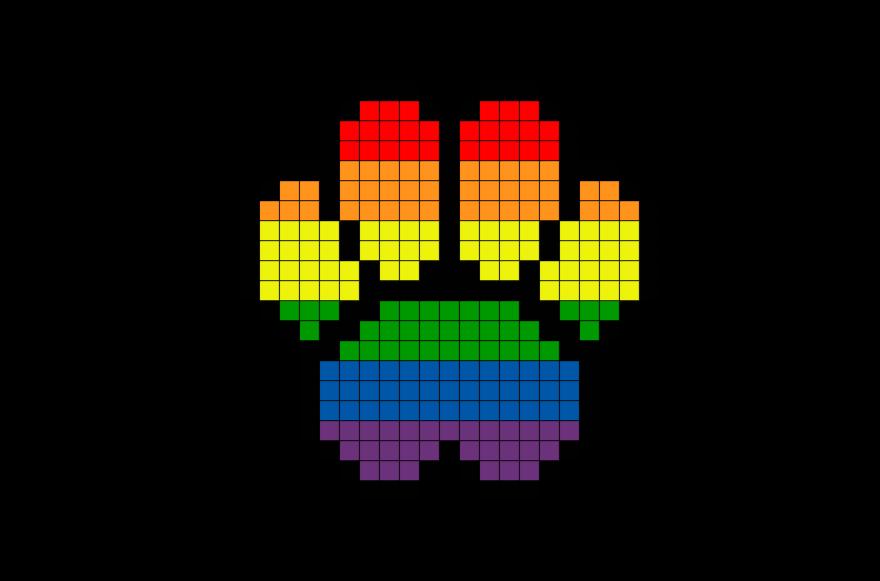 Cute Animal Pixel Art Pixel Art Rainbow Paw Full Size