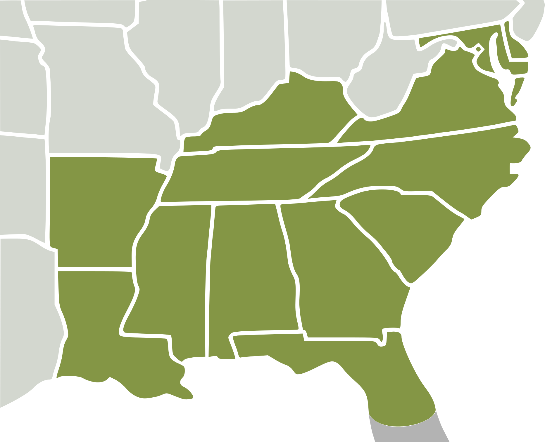 Svg Us Map Of Southeastern States Southeast Region - Vector ...