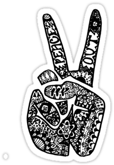Free Peace Sign Hand Png - Hand Drawn Peace Sign (375x360), Png Download