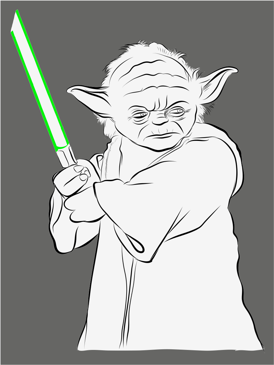 Drawing yoda outline picture stock drawing 1024x1366 png download