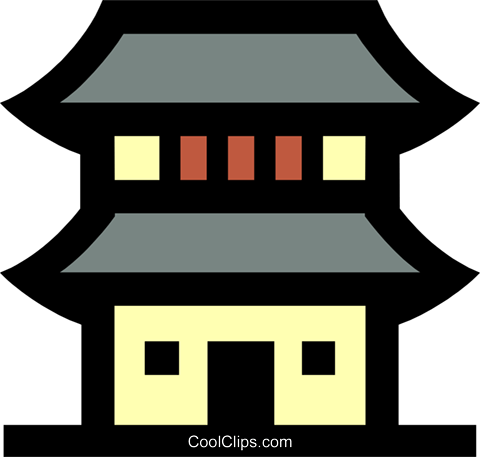 Japanese Building Royalty Free Vector Clip Art Illustration Japanese House Cartoon Transparent Full Size Png Download Seekpng