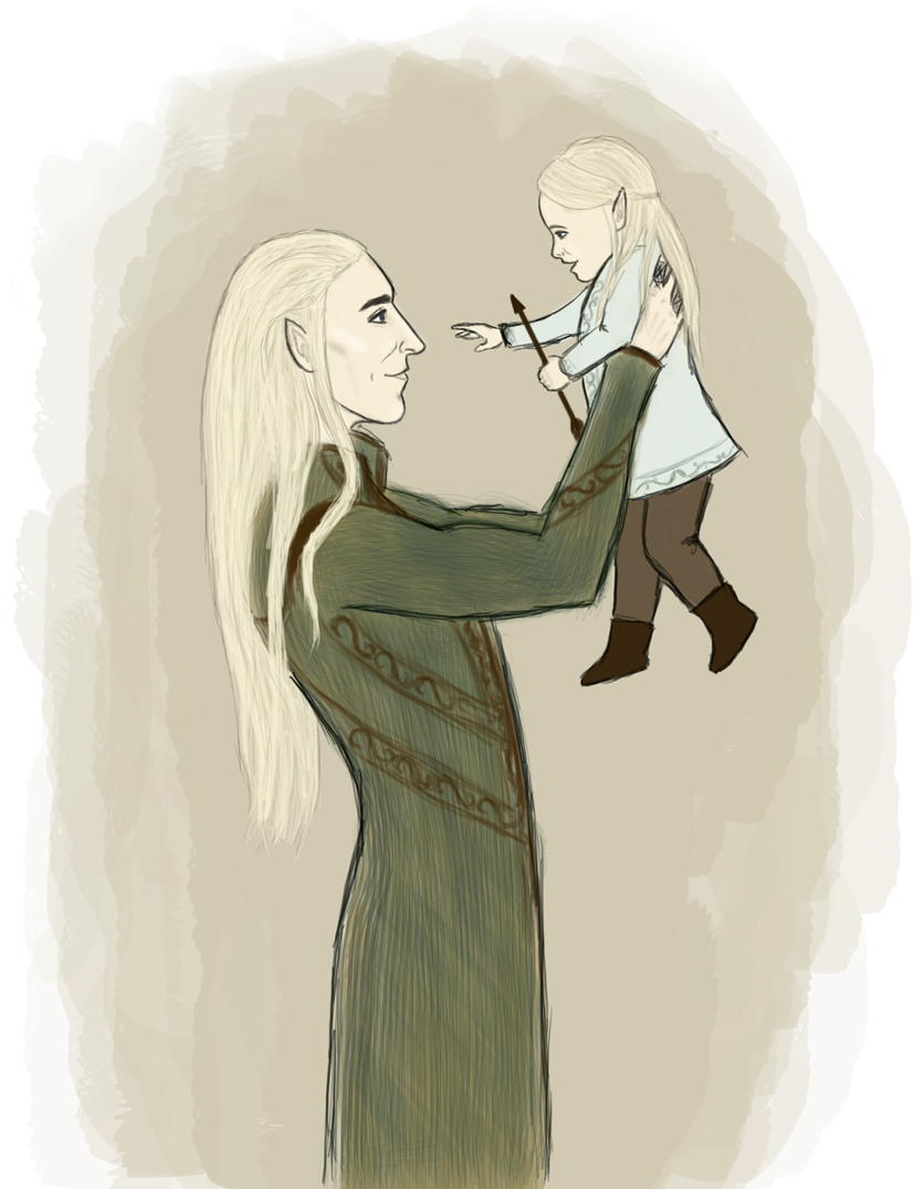 Little Sketch Of Thranduil With Baby Legolas My Obsession Baby Legolas Fan Art Full Size Png Download Seekpng