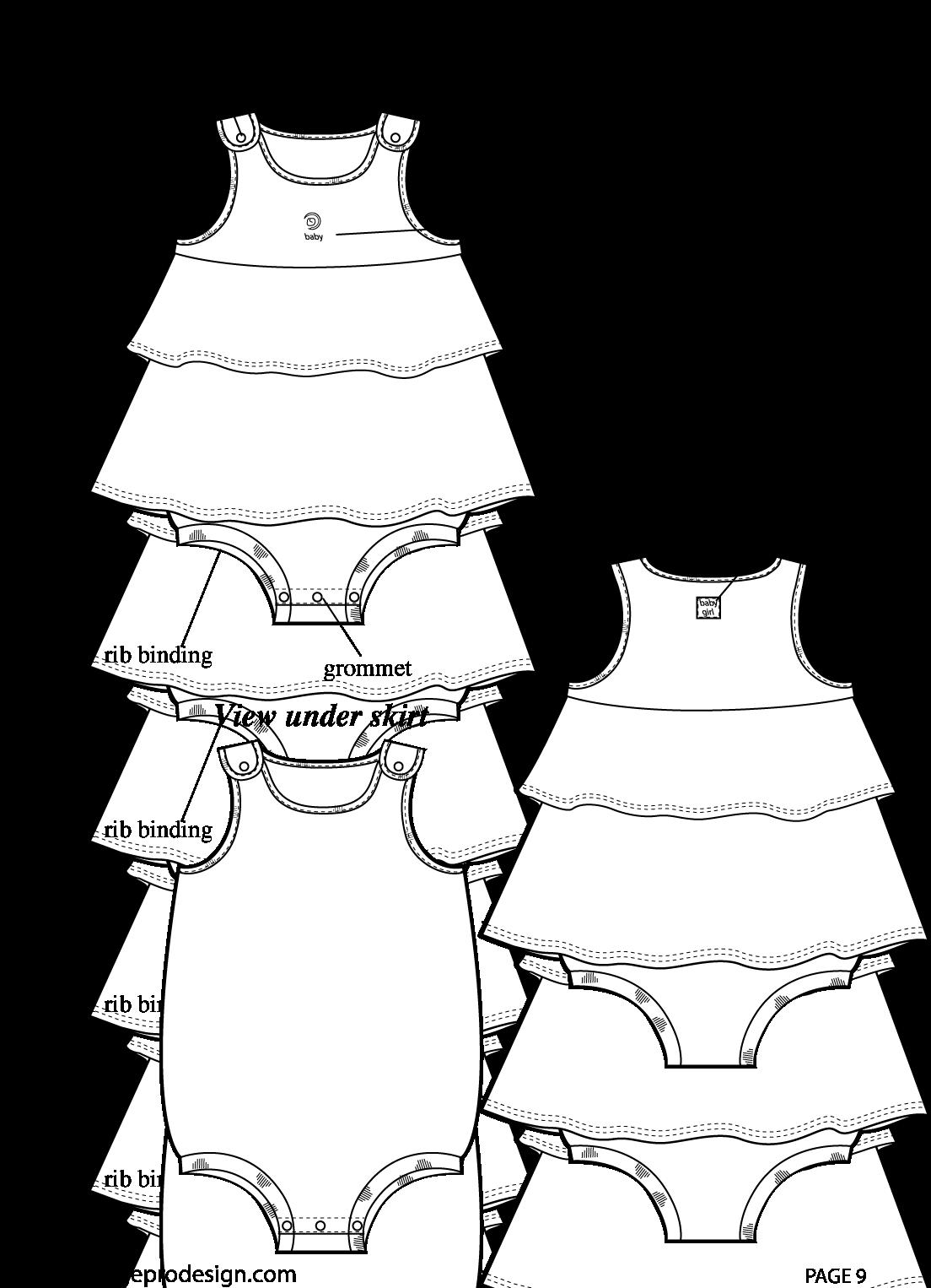 Illustrator For Kids Clothes Pattern Making And Kids Romper Flat Sketch Full Size Png Download Seekpng