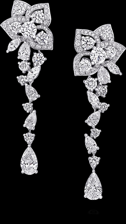 Graff Peony Flower Multi Shape Diamond Drop Earrings Sketch Full Size Png Download Seekpng