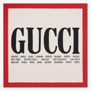 1aea8db2d1f Gucci Cities Print Silk Scarf - Gucci Logo With Cities. PNG