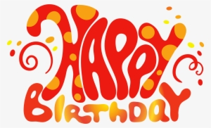 Red Cute Happy Birthday Text Png Clipart