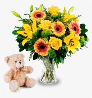 Fiori Gialli Png.Roses Lilies With Free Teddy Mazzo Di Fiori Gialli Png Image