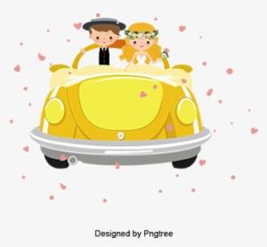 d0e96fa954e Cartoon Wedding Car Background Vector Material