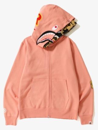 a88cdc01 Bape 2nd Shark Wide Full Zip Double Hoodie - Pink Bape Shark Hoodie Mens